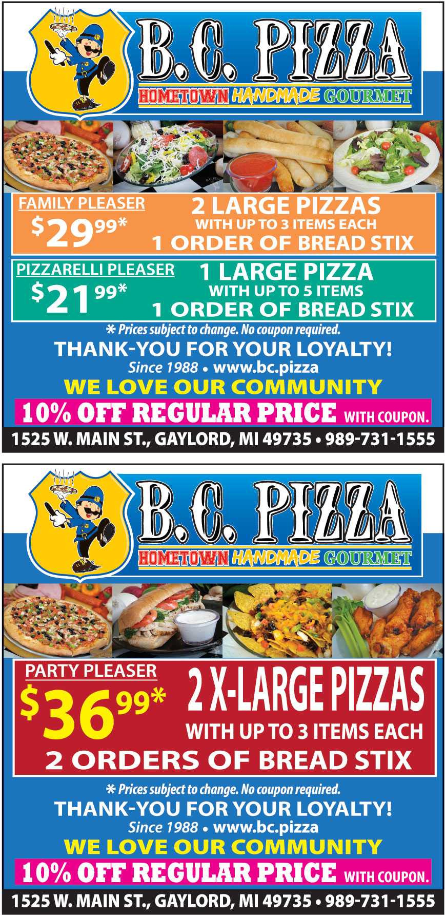 B C PIZZA OF GAYLORD