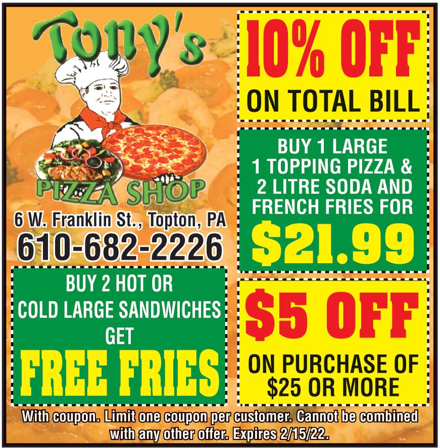 TONYS PIZZA SHOP